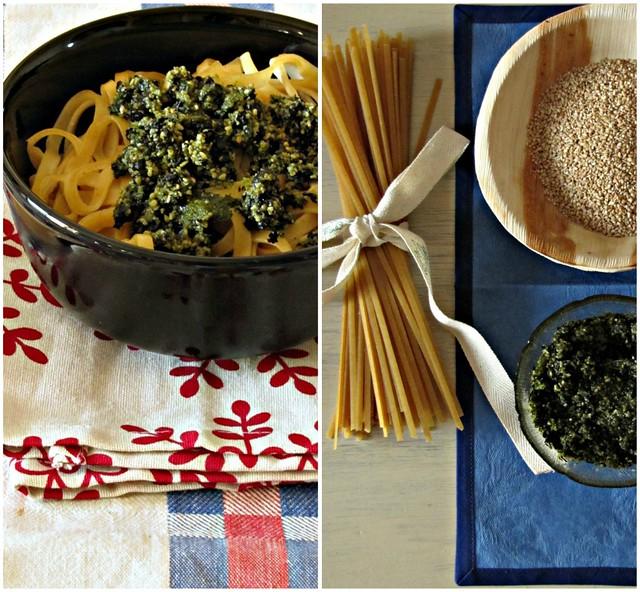 Linguine Integrali con Pesto di Sesamo e Alga Nori al The Matcha