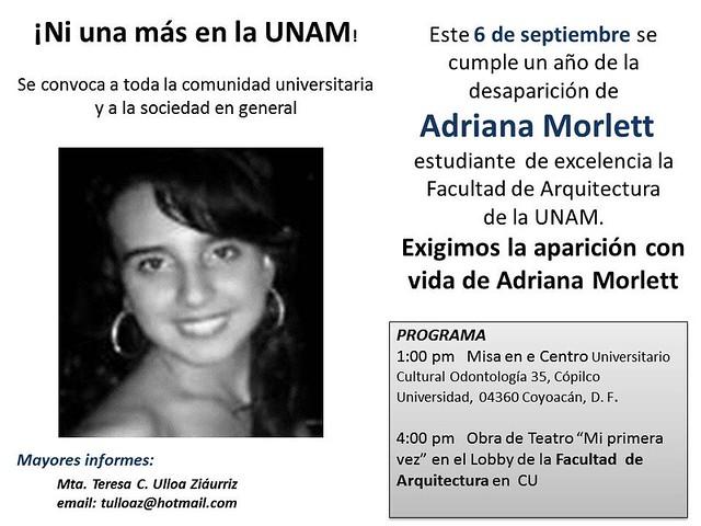 Exigimos la aparición con vida de Adriana Morlett, 6 de sept, Fac. de Arquitectura UNAM