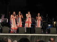 """""""All Angels"""" Wearing the Flag (Lazy B) Tags: hair lights audience stage crowd microphones bald august heads fz5 redwhiteandblue katherinejenkins baldspot musicstands 2011 clumberpark openairconcert allangels unionflagdresses katherinejenkinsconcert 4girlgroup"""