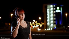 She's The Social One (Rick Nunn) Tags: street portrait night project 50mm hotel hand phone time bokeh sister photojournalism rick talk location line 50 nunn fifty ef50mmf14usm strobist photospecs fiftyoffifty vsortpop