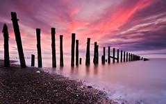 Spurn Head Sunrise (alexbaxterca) Tags: sea sun colour clouds sunrise canon groyne spurnpoint spurnhead 450d