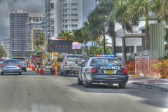 Surfside (D.Paez) Tags: sf road detail ford architecture work canon buildings traffic florida miami structures police victoria safety leds crown arrow hdr cones 500d pcar t1i