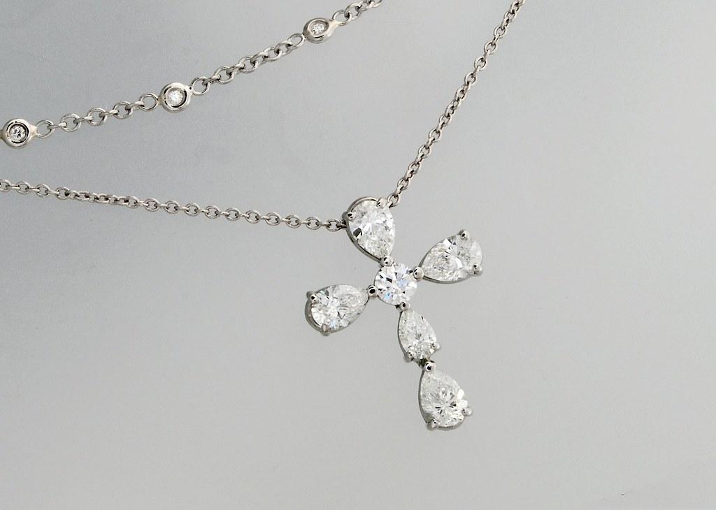 Pear Shape Diamond Cross