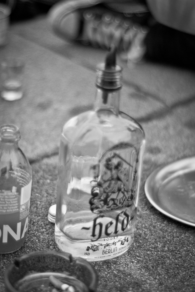 A bottle of Held Vodka with Onkel Berni