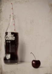 Cherry Coke Lovin (sherone72) Tags: uk england stilllife texture love kitchen fruit paper lens cherry hearts lumix bottle cafe stem heart straw coke panasonic textures g1 oldham cocacola pancake 20mm diet stalk tabletop lovin ttt stilllifephotoart