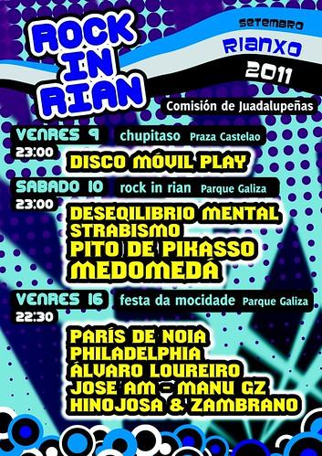 Rianxo 2011 - Festas da Guadalupe - Rock in Rian - cartel