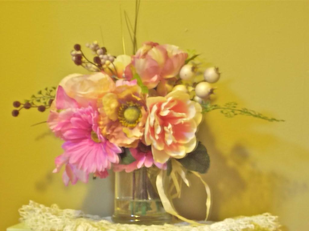 Pink Silk Flower Arrangement redux