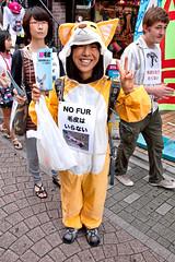 Anti-Fur Activists in Harajuku (tokyofashion) Tags: summer smile japan fur japanese tokyo costume cosplay tiger harajuku activist antifur takeshitadori 2011