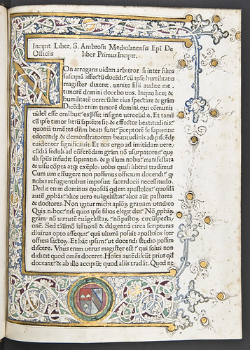 Illuminated and decorated page from Ambrosius: De officiis