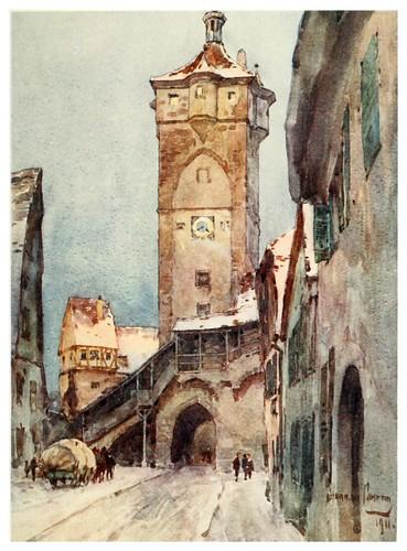 012-Rothenburg puerta de la muralla-Germany-1912- Edward y Theodore Compton ilustradores