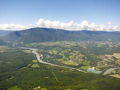 // le Rhne & Jura (Riex) Tags: france mountains river landscape switzerland flying suisse jura paysage aerialphotography montagnes fleuve rhone mountainrange s95 canonpowershots95
