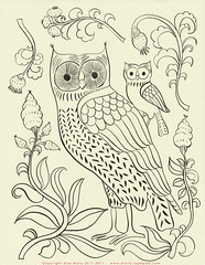 Free owl embroidery pattern. (Elsita (Elsa Mora)) Tags: bird art nature leaves birds branch handmade drawing embroidery craft owl romantic blogged inkdrawing backandwhite paterns elsita crewelembroidery elsamora freeembroiderypattern
