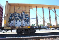Lewis (huntingtherare) Tags: car train bench skeleton graffiti lewis rack freight lumber rollingstock a2m benching