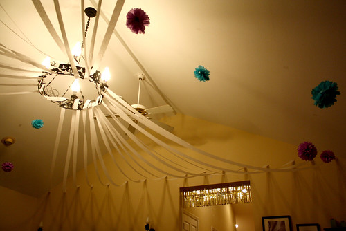 My decorations for the party Yep the white streamers and silver fringe is