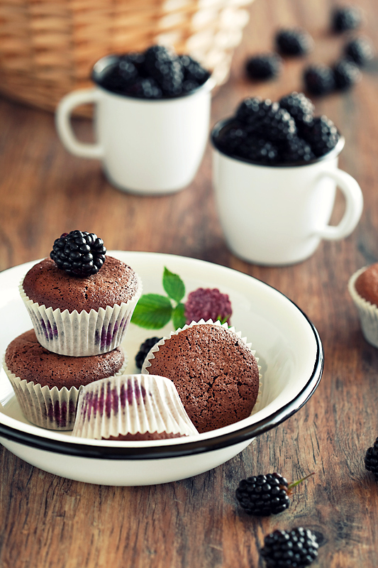 Blackberry and Chocolate Muffins