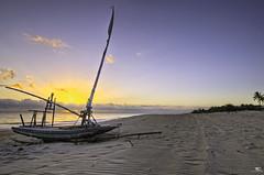 05:52 AM in Brazil (iPh4n70M) Tags: blue sea brazil sky sun mer beach clouds sunrise palms soleil boat fishing sand nikon sable bleu ciel nikkor nuages bateau plage hdr palmiers lever brésil cumbuco pêche 3xp 3raw cearà 1424mm d7000