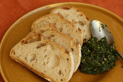 Carrot Top Pesto with Fresh Bread