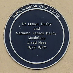 Photo of Ernest Darby and Madame Parkes Darby blue plaque