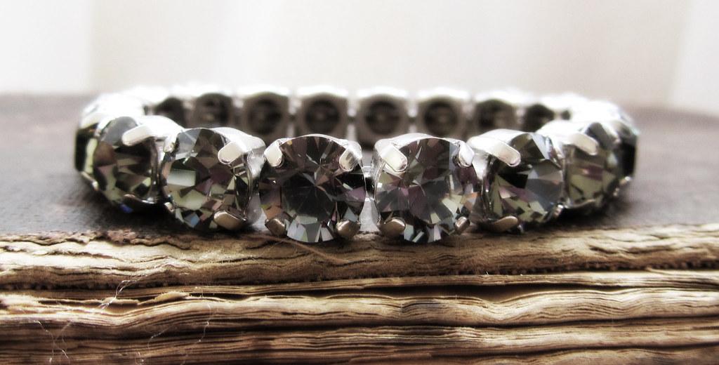 Swarovski Crystal Bracelet in Black Diamond Stones
