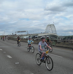 Russell coasts down the ramp from the Fremont Bridge