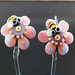 Earring Pair : Bee Pink Flower Blossom