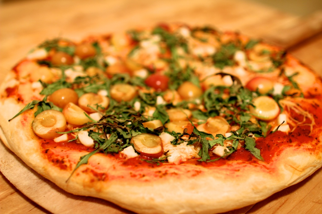 cherry arugula pizza