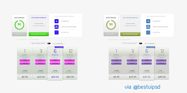 Free Subtle Pricing Table UI PSD Webdesign Element