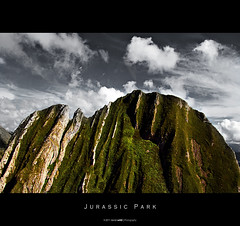 Jurassic Park (Daniel Wildi Photography) Tags: sky mountain alps green film rock stone clouds movie island hawaii schweiz switzerland moss europe dinosaur computergenerated flight pass landmark formation valley hollywood kauai hawaiian lichen glider isla impressive dinosaurs trex aar bernese imagery gantrisch jurassicpark jeffgoldblum gurnigel stevenspielberg simmental lauradern 2011 michaelcrichto