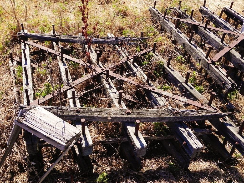 Wood frame, steel spike drag harrow