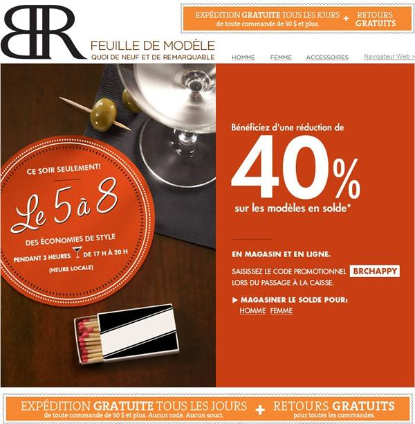 Banana Republic: 40% de rabais additionnel sur la marchandise soldee - 19 aout 2011