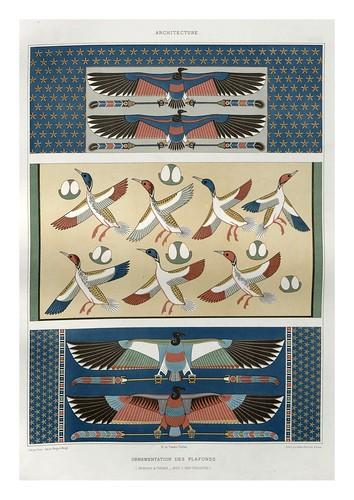 018-Ornamentacion de techos-Menfis y Tebas dinastias XVIII y XIX-Histoire de l'art égyptien 1878- Achille Constant Théodore Émile