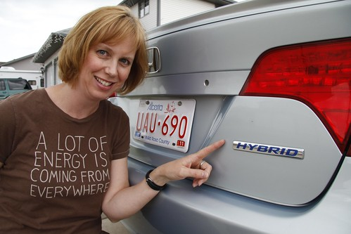 Tina Regehr with Hybrid Honda Civic