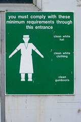 Whites (*Jilltoo) Tags: newzealand food fish sign warning canterbury nz processing getty whites information fishfactory