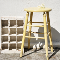 Vitnage Yellow Stool by Over The Moon Vintage Rentals