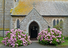 Pink hydrangeas round the door by Tim Green aka atoach