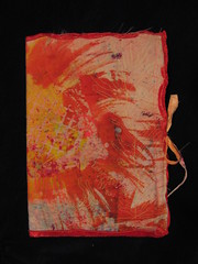 Davida's journal cover (bohemiannie) Tags: inspiration motion art painted group journal machine free fabric cover stitching dyed batik the bohemiannie