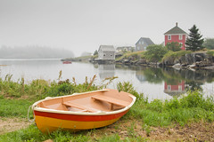 I can identify with this scene..it resembles my brain some days...a little bit foggy! (Nancy Rose) Tags: houses fog reflections island boat waiting novascotia cove shoreline peaceful calm atlantic maritime rowboat resting quaint dory lunenburg stonehurst bluerocks