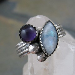 Moonstone and Amethyst Silver Ring (AshleighAnnette) Tags: victorian amethyst moonstone oxidized cabochon sterlingsilverwing