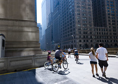 Bikers and runners on Park Ave., around Grand Central (Dan Nguyen @ New York City) Tags: city newyorkcity summer urban canon landscape manhattan gothamist s90 summerstreets