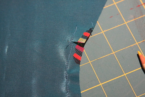 reinforced and clipped first line of stitching for narrow hem