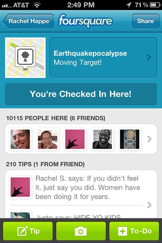 Foursquare Event Checkin: Earthquakepocalypse by stevegarfield