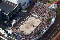 Volley from the skies © Rob Watkins 2011 (Aland Rob) Tags: world above brazil people usa game beach sport airplane sitting tour open view stadium crowd aeroplane aerial final american sellout sit mens brazilian volleyball players finnish seated archipelago paf mariehamn åland fivb