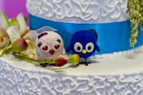 Needle felted love birds cake topper