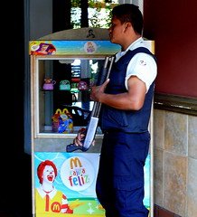 Happy Meal At McDonald's In Guatemala (Butch Osborne) Tags: strange look kids danger dinner lunch restaurant interesting scary dangerous different guatemala fastfood guard mcdonalds antigua weapon meal shotgun triggerfinger protection ronaldmcdonald crowdcontrol trigger happymeal centralamerica unbelievable armed sawedoffshotgun