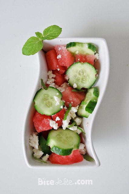 ... » Watermelon summer salad with feta cheese, cucumber and mint
