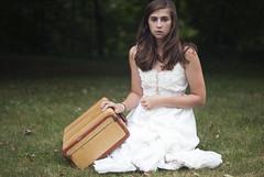 (hannah ) Tags: old portrait girl self vintage 50mm nikon dress f14 suitcase d3000