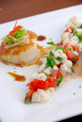 scallop ceviche (firewaterw) Tags: food nc seafood scallop cilantro chapelhill unc ceviche cubed seared marinated rtp grapetomato limejuice seascallop collegeeating