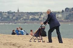 All-terrain (Ktoine) Tags: old beach lost suit granny plage generation saintmalo grandparent pushchair dinard allterrain pusher bonsecours strolley incongru