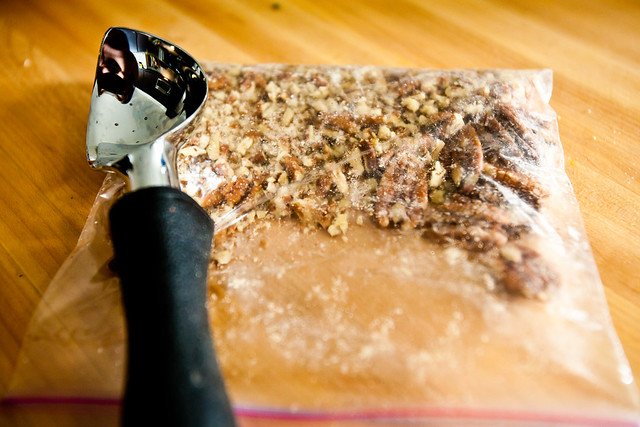 Crushing pecans the easy way...