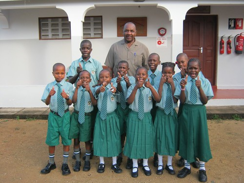 Mr Remi Mwasi with the pupils